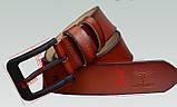 Ремень мужской кожаный классический COWATHER модель E (коричневый), фото 8