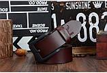Ремень мужской кожаный классический COWATHER модель E (коричневый), фото 9