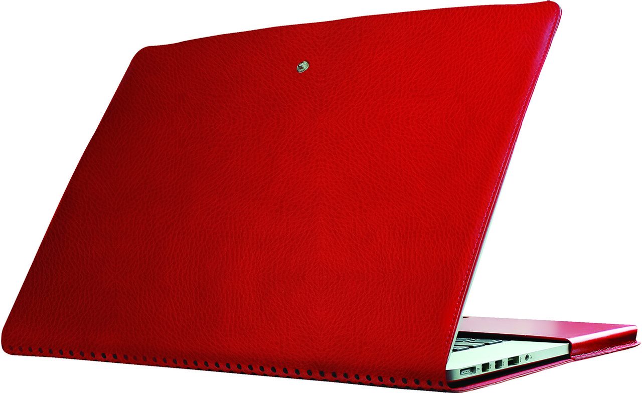 Легкий защитный кожаный чехол для MacBookPro Promate MacLine-Pro15 Red