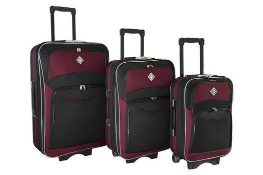 Чемодан сумка дорожный Bonro Style набор 3 штуки черно-вишневый