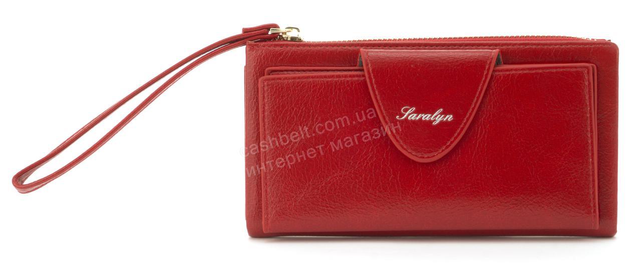 Оригинальная прочный удобный кошелек барсетка высокого качества с кардхолдеромSARALYN art. С-1811 красный
