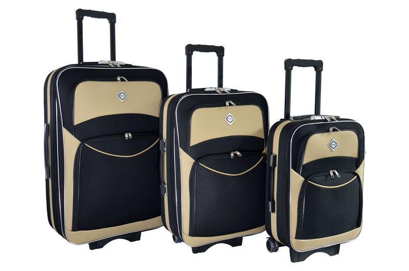 Чемодан сумка дорожный Bonro Style набор 3 штуки черно-кремовый