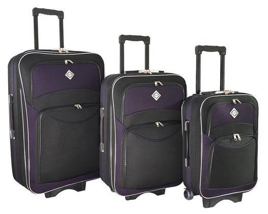 Чемодан сумка дорожный Bonro Style набор 3 штуки черно-т. фиолетовый