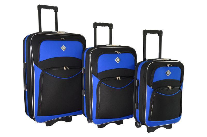 Чемодан сумка дорожный Bonro Style набор 3 штуки черно-синий