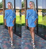 Женское легкое летнее платье  свободного кроя с пояском