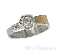 """Женское серебряное кольцо с золотой пластиной """"Сильфида"""""""
