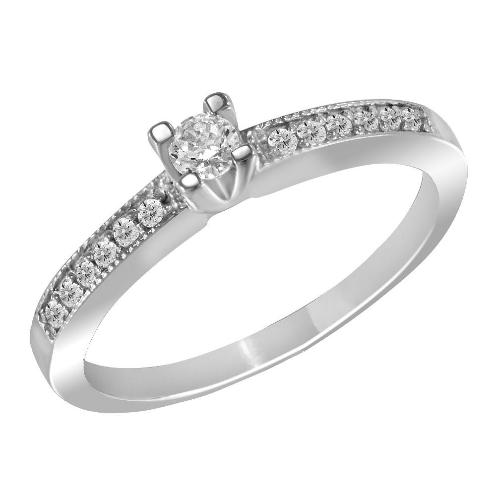 Кольцо из серебра с куб. циркониями K036W