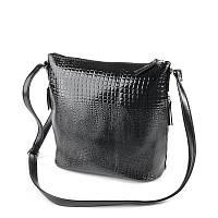 Молодежная сумка М78-Z/14 через плечо в черном лаковом питоне, фото 1
