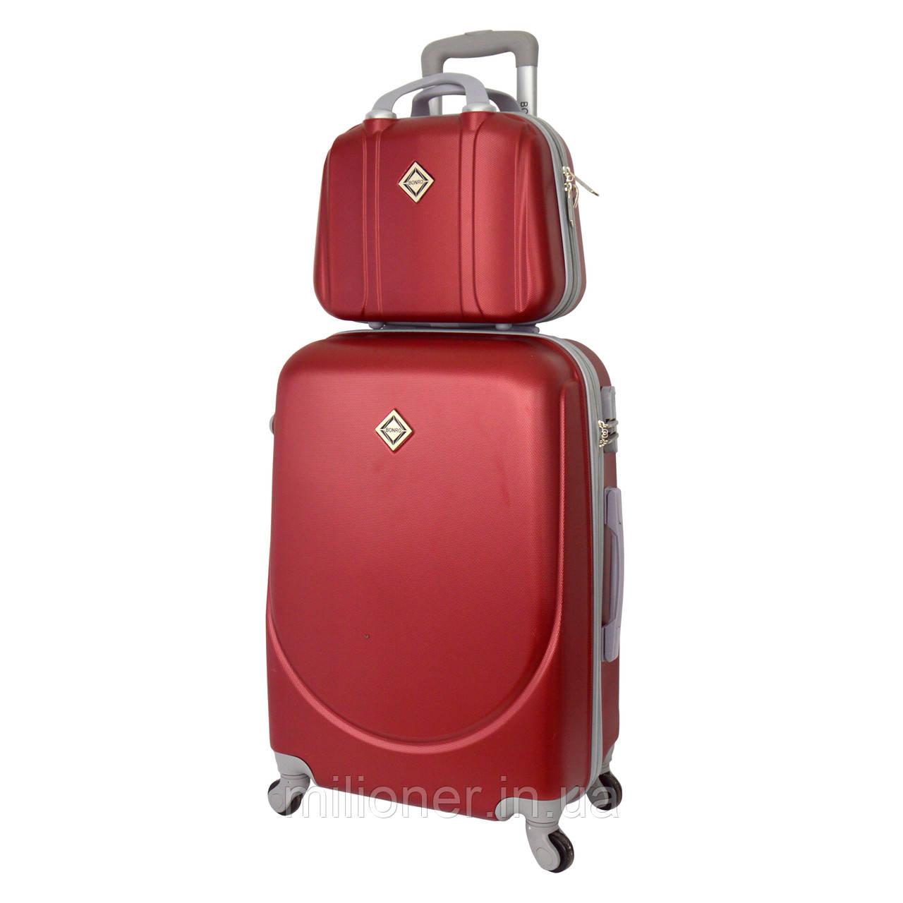 Комплект чемодан + кейс Bonro Smile (небольшой) бордовый