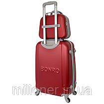 Комплект чемодан + кейс Bonro Smile (небольшой) бордовый, фото 2