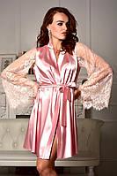 Женский халат атласный с широким кружевным рукавом Королевский Розовый
