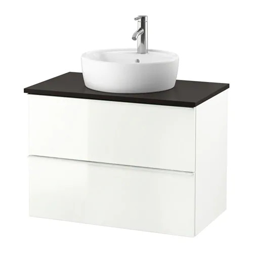 Шкаф для раковины IKEA GODMORGON / TOLKEN / TÖRNVIKEN 82x49x74 см с 2 ящиками глянец белый антрацит 291.878.65