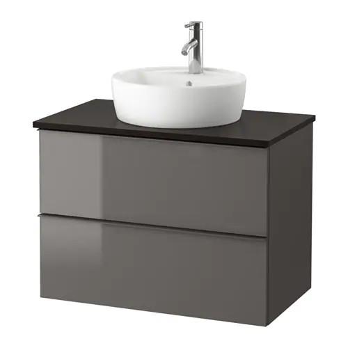 Шкаф для раковины IKEA GODMORGON / TOLKEN / TÖRNVIKEN 82x49x74 см с 2 ящиками глянец серый антрацит 391.878.98