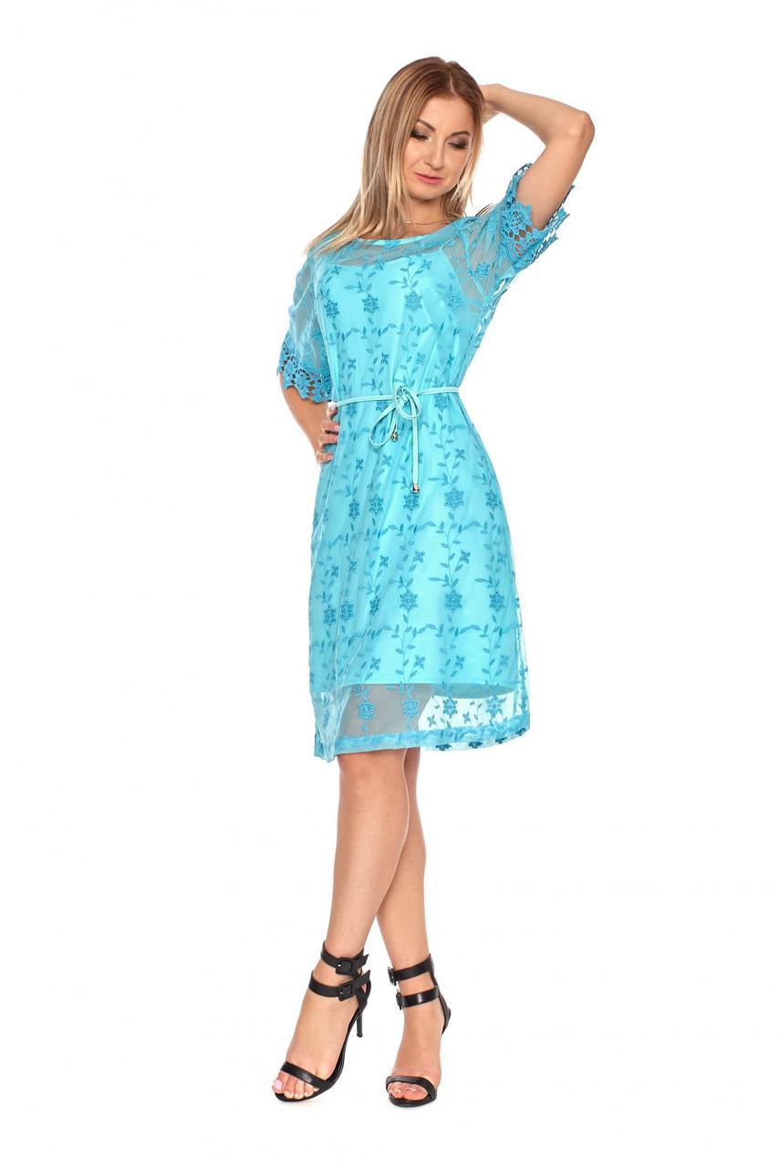 Платье с накидкой из кружева цвет голубой 1085