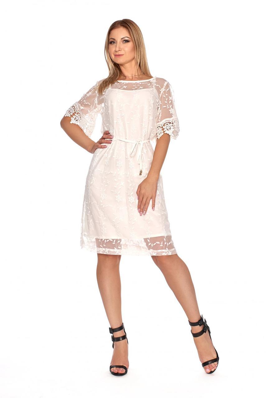 Платье с накидкой из кружева цвет молочный 1085
