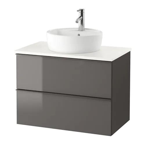 Шкаф для раковины IKEA GODMORGON / TOLKEN / TÖRNVIKEN 82x49x74 см с 2 ящиками глянцевый серый белый 991.878.95