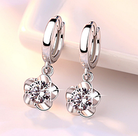 Серебряные серьги Цветок стерлинговое серебро 925 пробы (код 1060)