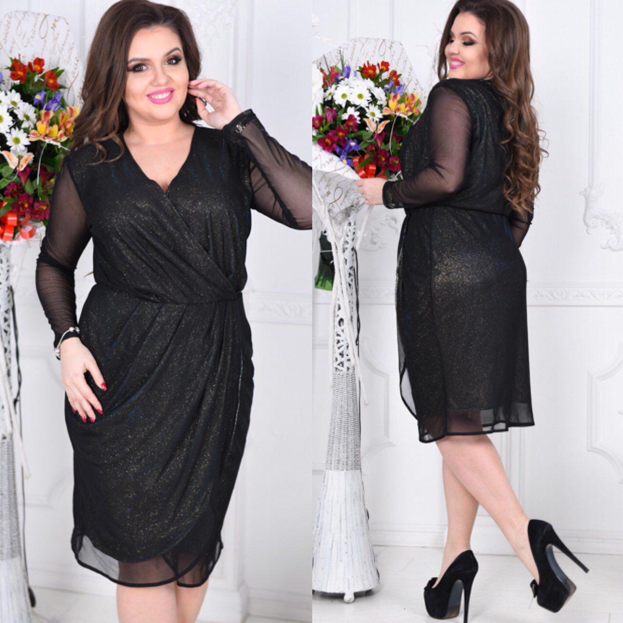"""Эффектное женское платье ткань """"Диско Трикотаж"""" 48, 50 размер баталы"""