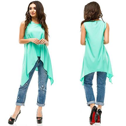 "Асимметричная летняя женская блуза ""LITON"" без рукавов (6 цветов), фото 2"