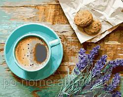 Картина по номерам Кофе и букет лаванды (BK-GX21514) 40 х 50 см [Без коробки]
