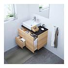 Шкаф с раковиной IKEA GODMORGON / TOLKEN / TÖRNVIKEN 82x49x72 см с 3 ящиками беленый дуб антрацит 191.911.32, фото 2