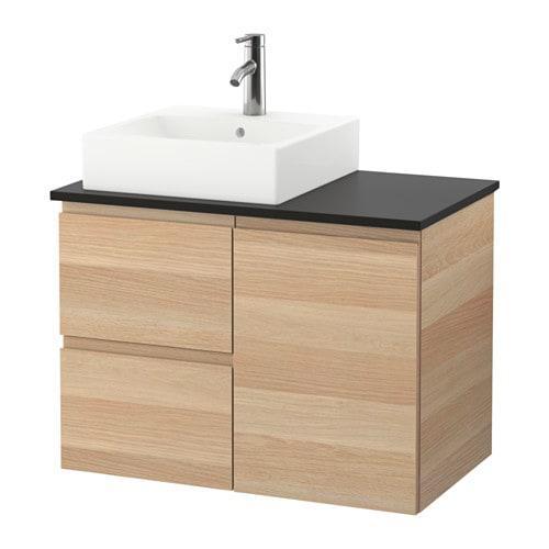 Шкаф с раковиной IKEA GODMORGON / TOLKEN / TÖRNVIKEN 82x49x72 см с 3 ящиками беленый дуб антрацит 191.911.32