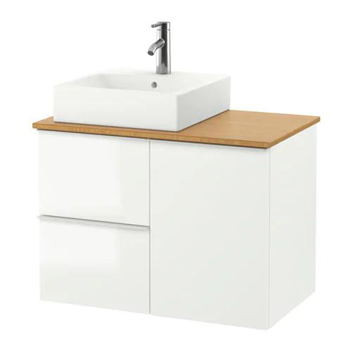 Шкаф с раковиной IKEA GODMORGON / TOLKEN / TÖRNVIKEN 82x49x72 см с 3 ящиками глянец белый бамбук 791.911.72