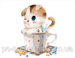 Картина по номерам Котик в чашке (BRM8395) 40 х 50 см
