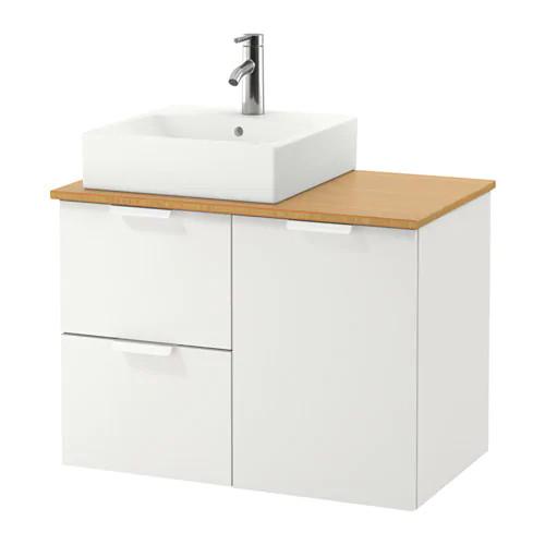 Шкаф с раковиной IKEA GODMORGON / TOLKEN / TÖRNVIKEN 82x49x72 см с 3 ящиками белый бамбук 491.911.78