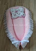 """Плюшевое гнездышко со сьемным матрасиком """"Балерины"""", кокон для новорожденного Baby-Sleep"""