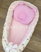 """Гнездышко со сьемным матрасиком """"розовые мороженки"""", кокон для новорожденного Baby-Sleep"""
