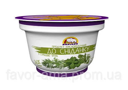 Кисломолочный продукт До сніданку АМА с травами 36% (150 г), фото 2