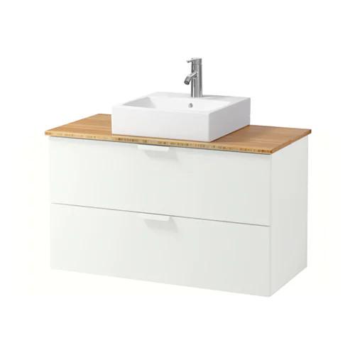 Шкаф с раковиной IKEA GODMORGON / TOLKEN / TÖRNVIKEN 102x49x72 см с 2 ящиками белый бамбук 591.851.34