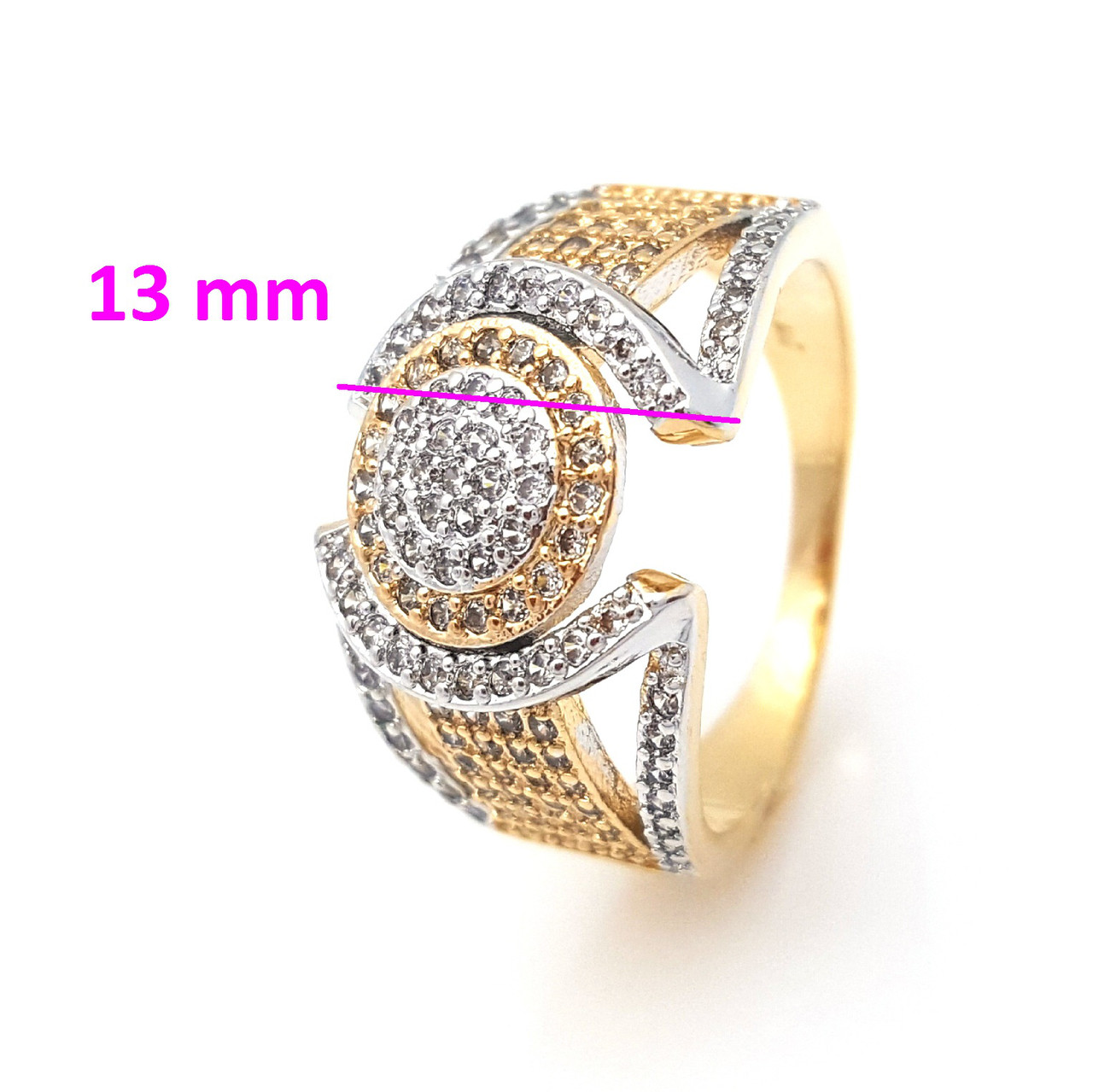 Кольцо позолота, Необычная геометрия, инкрустация цирконием, р.17, р.17,5 позолота+родий
