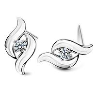 Серебряные серьги Пламя с белым камнем стерлинговое серебро 925 проба куб. цирконий, фото 1