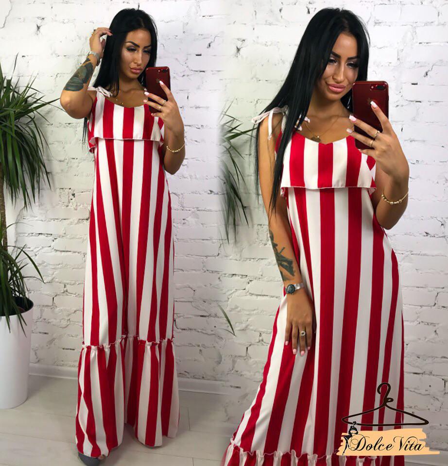 b17a59cc97f Свободное полосатое платье в пол на бретелях с оборками tez22031704 - «Anna  Tézor» -