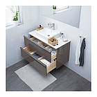 Шкаф с раковиной IKEA GODMORGON / TOLKEN / TÖRNVIKEN 102x49x72 см с 2 ящиками глянцевый серый белый 191.857.39, фото 2