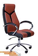 Кресло Прайм (СX 0522H Y10-02) к/з PU черный/коричневые вставки, фото 1