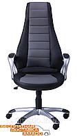 Кресло Форс (CX 0678 Y10-01) к/з PU черный /серые вставки, фото 1