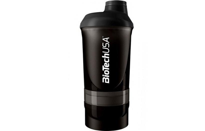 Шейкер BioTechUSA Shaker 2-х компонентный 500ml +150ml black