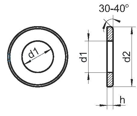 Схема плоской оцинкованной шайбы DIN 125