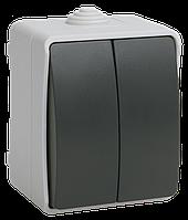 Выключатель двухклавишный для открытой установки ФОРС IP54 ВС20-2-0-ФСр IEK