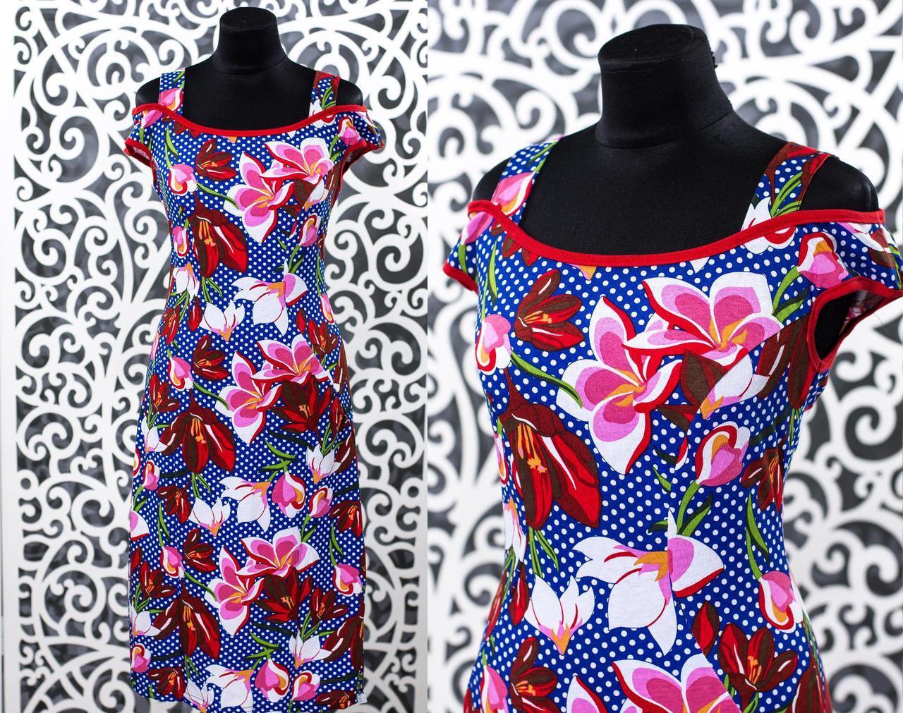 """Прекрасное женское платье с Цветочным принтом """"Трикотаж"""" 52 размер батал"""