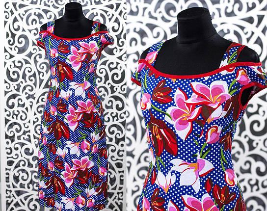 """Прекрасное женское платье с Цветочным принтом """"Трикотаж"""" 52 размер батал, фото 2"""