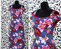 """Прекрасное женское платье с Цветочным принтом """"Трикотаж"""" 50, 52, 54, 58 размер батал"""