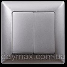 Выключатель двухклавишный Gunsan Visage, VS 28 15 103, серебро