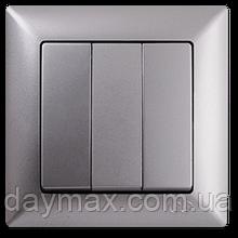 Выключатель трехклавишный Gunsan Visage, VS 28 15 160, серебро