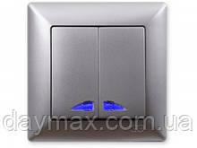 Выключатель двухклавишный Gunsan Visage с подсветкой, VS 28 15 104, серебро