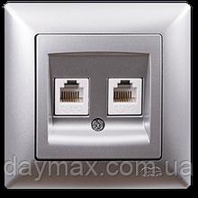 Розетка телефонная Gunsan Visage двойная, VS 28 15 121, серебро