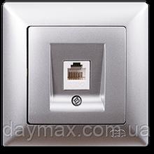 Розетка компьютерная Gunsan Visage одинарная, VS 28 15 130, серебро